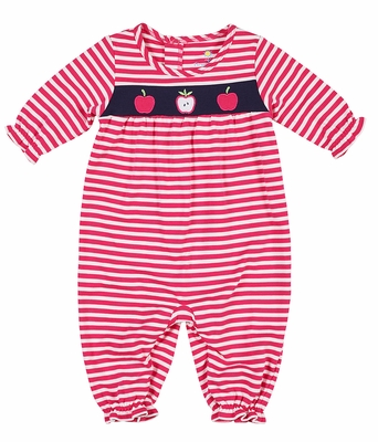 Florence Eiseman Baby Girls Bright Pink Striped Knit Apples Romper