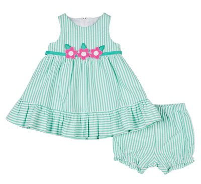 Florence Eiseman Baby Girls Jade Green Seersucker Dress with Bloomers