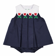 Florence Eiseman Baby Girls Navy Blue Pique Skirted Bubble - Red Tulips