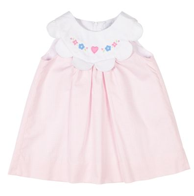 Florence Eiseman Baby Girls Pink Check Dress - Scallop Collar with Embroidery