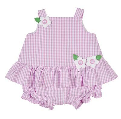Florence Eiseman Baby Girls Pink Check Seersucker Ruffle Bubble