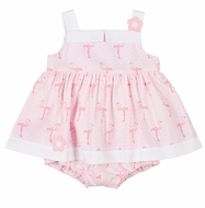 Florence Eiseman Baby Girls Pink Flamingo Pique Skirted Bubble