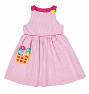 Florence Eiseman Baby Girls Pink Seersucker Dress with Flower Basket Pocket