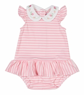 Florence Eiseman Baby Girls Pink Stripe Knit Ruffle Bubble with Strawberries Collar