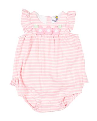 Florence Eiseman Baby Girls Pink Stripe Knit Bubble with Flowers