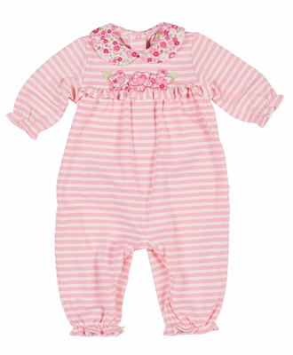 Florence Eiseman Baby Girls Pink Stripe Knit Ruffle Romper with Flowers