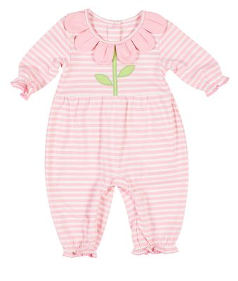 Florence Eiseman Baby Girls Pink Striped Knit Romper - Petal Collar