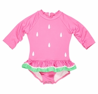 Florence Eiseman Baby Girls Pink Watermelon Seeds Ruffle Rash Guard One Piece Swimsuit