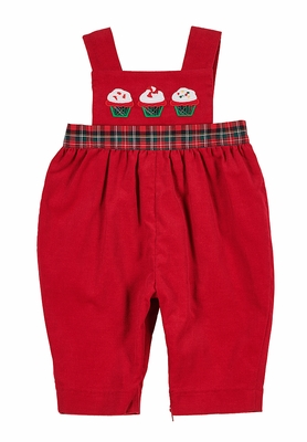 Florence Eiseman Baby Girls Red Corduroy Romper with Cupcakes