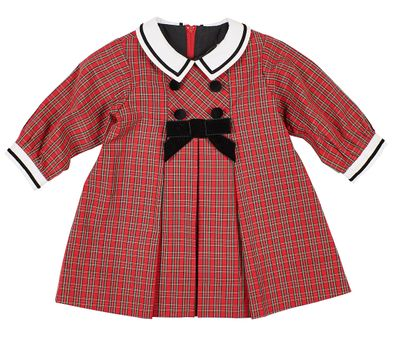 Florence Eiseman Baby Girls Red Holiday Plaid Dress - Velvet Bow