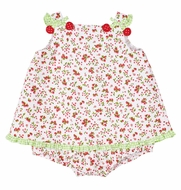 Florence Eiseman Baby Girls Red Strawberry / Cherry Print Skirted Bubble