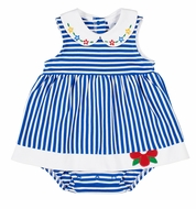 Florence Eiseman Baby Girls Royal Blue Stripe Knit Skirted Bubble