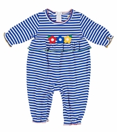 Florence Eiseman Baby Girls Royal Blue Striped Knit Romper with Flowers