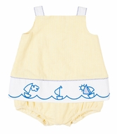 Florence Eiseman Baby Girls Yellow Seersucker Blue Sailboats Overlay Bubble