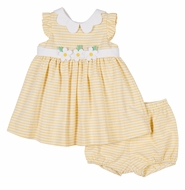 Florence Eiseman Baby Girls Yellow Stripe Dress - Scallop Collar & Bloomers