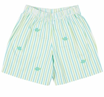 Florence Eiseman Baby / Toddler Boys Aqua / Lime Green Stripe Seersucker Shorts - Embroidered Turtles