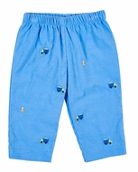 Florence Eiseman Baby / Toddler Boys Blue Corduroy Embroidered Trucks Pull On Pants