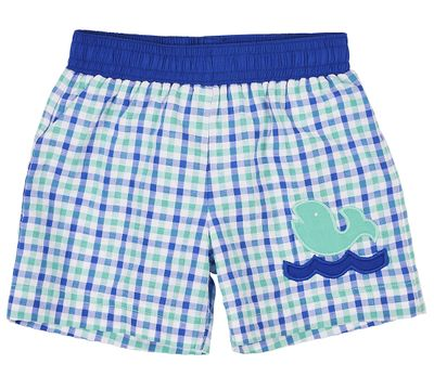 Florence Eiseman Baby / Toddler Boys Blue / Green Check Seersucker Swimsuit with Whale