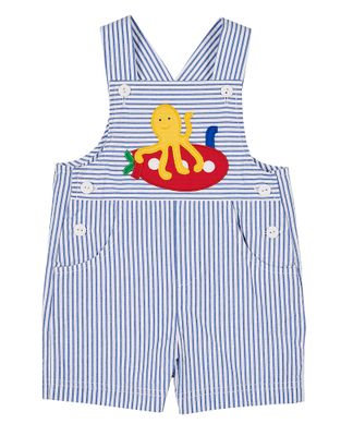 Florence Eiseman Baby / Toddler Boys Blue Seersucker Shortall - Submarine & Octopus