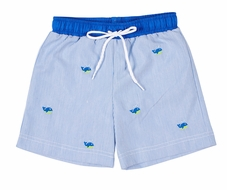 Florence Eiseman Baby / Toddler Boys Blue Pincord Embroidered Whales Swim Trunks