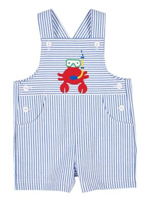 Florence Eiseman Baby / Toddler Boys Blue Stripe Seersucker Shortall - Red Scuba Crab