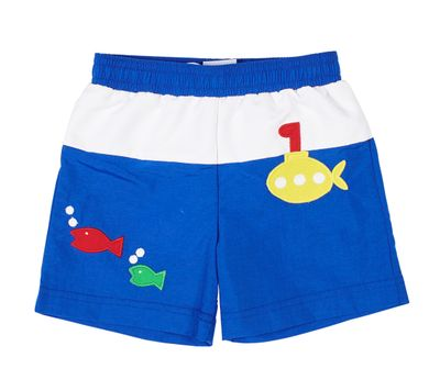 Florence Eiseman Baby / Toddler Boys Blue / White Fish / Submarine Swim Trunks