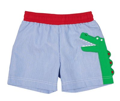 Florence Eiseman Baby / Toddler Boys Blue Pincord Swim Trunks - Green Alligator