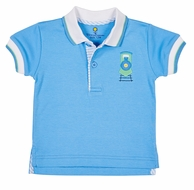 Florence Eiseman Baby / Toddler Boys Blue Polo Shirt - Applique Train