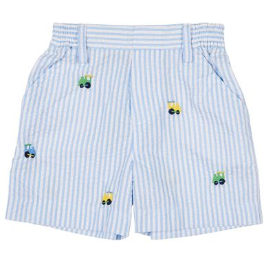 Florence Eiseman Baby / Toddler Boys Blue Seersucker Faux Fly Shorts - Embroidered Trains