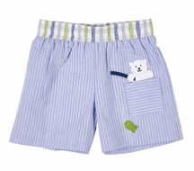 Florence Eiseman Baby / Toddler Boys Blue Seersucker Fishing Bear Swim Trunks