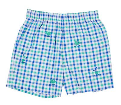 Florence Eiseman Baby / Toddler Boys Blue / Green Check Seersucker Shorts - Embroidered Whales