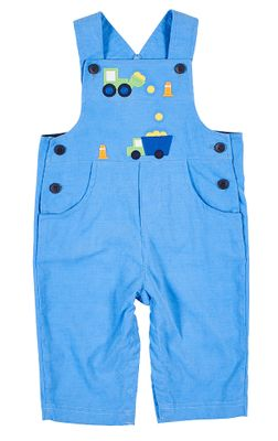 Florence Eiseman Baby / Toddler Boys Blue Corduroy Construction Trucks Longall