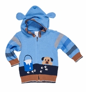 Florence Eiseman Baby / Toddler Boys Blue / Tan Puppy Dog Sweater with Ears on Hood