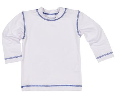 Florence Eiseman Baby / Toddler Boys / Girls Rash Guard - Long Sleeves - White with Blue Stitching