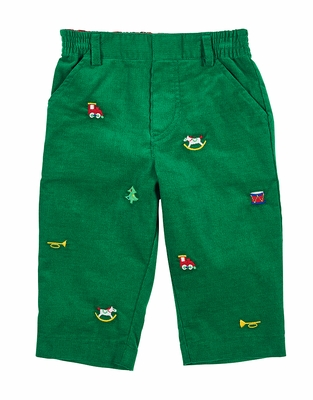 Florence Eiseman Baby / Toddler Boys Green Corduroy Pants with Toy Embroidery