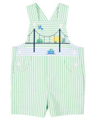 Florence Eiseman Baby / Toddler Boys Green Seersucker Shortall with Bridge