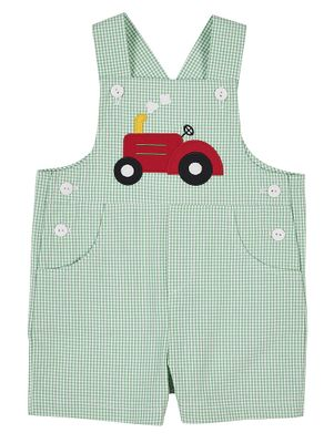 Florence Eiseman Baby / Toddler Boys Green Check Seersucker Shortall - Red Tractor
