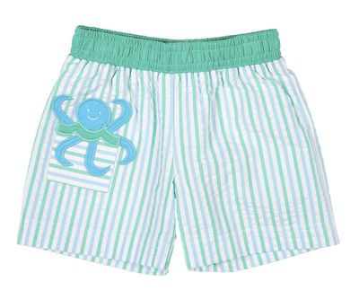 Florence Eiseman Baby / Toddler Boys Blue / Green Stripe Seersucker Octopus Swim Trunks