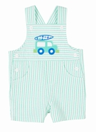 Florence Eiseman Baby / Toddler Boys Jade Green Seersucker Shortall - Van with Surfboard