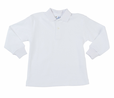 Florence Eiseman Little Boys Long Sleeved Polo Shirt - White