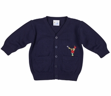 Florence Eiseman Baby / Toddler Boys Navy Blue Cardigan Sweater - Marching Band Bear