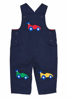 Florence Eiseman Baby / Toddler Boys Navy Blue Twill Longall - Race Cars