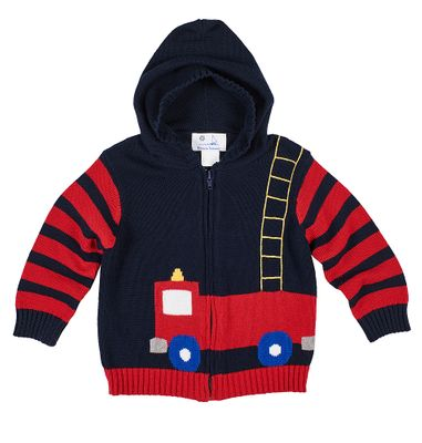 Florence Eiseman Baby / Toddler Boys Navy Blue / Red Firetruck Sweater with Hood
