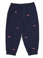 Florence Eiseman Baby / Toddler Boys Navy Blue Twill Jogger Pants with Firetrucks