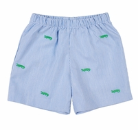 Florence Eiseman Baby / Toddler Boys Pull On Shorts - Blue Junior Pincord with Embroidered Green Alligators