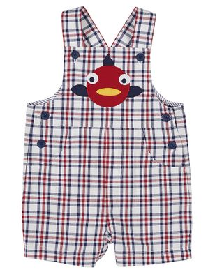 Florence Eiseman Baby / Toddler Boys Red / Blue Plaid Fish Shortall