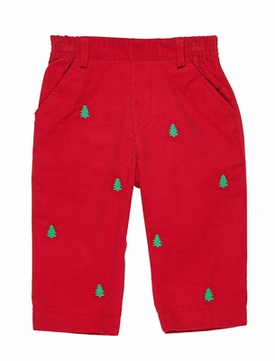 Florence Eiseman Baby / Toddler Boys Red Corduroy Pull On Pants - Embroidered Christmas Trees