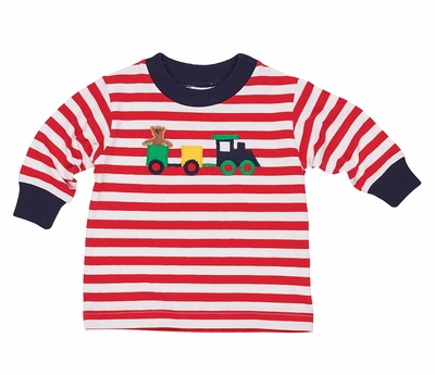 Florence Eiseman Baby / Toddler Boys Red Striped Knit Shirt - Train