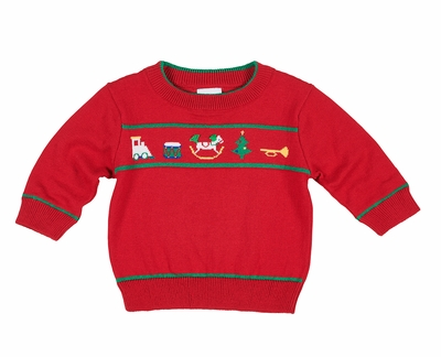 Florence Eiseman Baby / Toddler Boys Red Crew Sweater - Christmas Toys