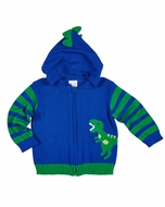 Florence Eiseman Baby / Toddler Boys Royal Blue / Green Dinosaur Sweater with Spiked Hood